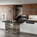 Sagne Cuisine modèle empreinte Linxia blanche et bois marron - Cuisines Debard