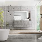 Sagne Salle de bain en Mélamine gris imitation bêton - Cuisines Debard