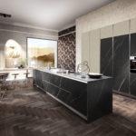 Cuisine facade pierre noire dekton sans poignées et bar - Cuisines DEBARD