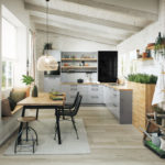 Cuisine grose brillante et plan de travail en bois; meuble avec rideau - Cuisines DEBARD