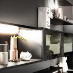 Niche ouverte noire vitrée - Cuisines DEBARD