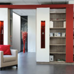 Bibliothèque AGEM rouge blanc avec niche bois