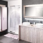 salle de bain YOU meuble bois et miroir avec colonne rose