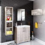 salle de bain YOU meuble sur pied en bois avec miroir colonne et étagères