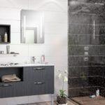 Salle de bain YOU meuble sur pied bois foncé et douche italienne