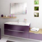 Salle de bain YOU meuble suspendu violet et miroir - Nos produits - Cuisines Debard